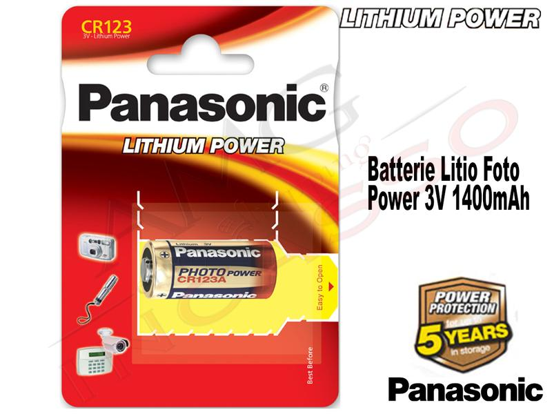 1 Batteria CR-123AL 3 V 1400 mAh al litio Foto Power Panasonic