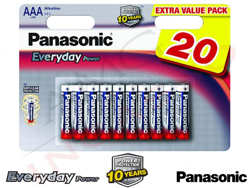 20 Batterie LR03EPS Ministilo AAA 1,5 V Alcaline Everyday Panasonic