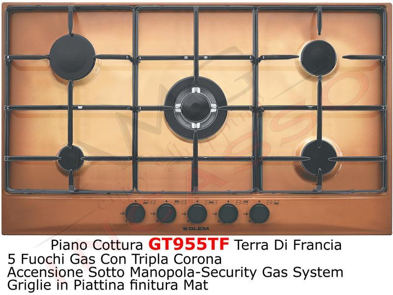 Piano Cottura cm.90 GT955TF 4F+1 Tripla Corona Griglie Smaltate ...
