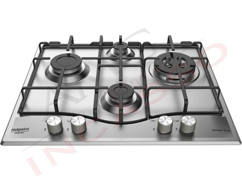 Piano Cottura Cucina 4 Fuochi Gas cm.60 Acciaio Inox Clean Diamond ...