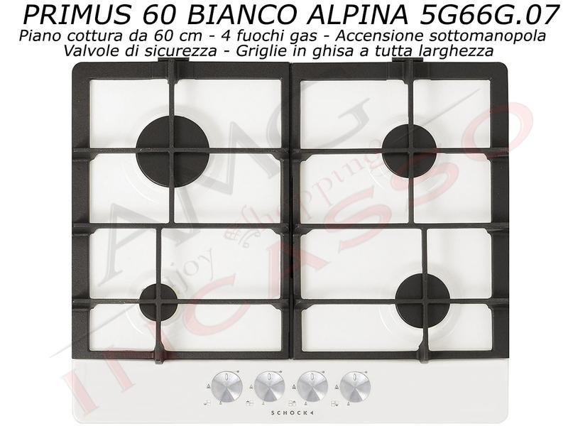 Piano Cottura Schock Primus PC60 AVG 5G66G.07 4 Fuochi Bianco Alpina