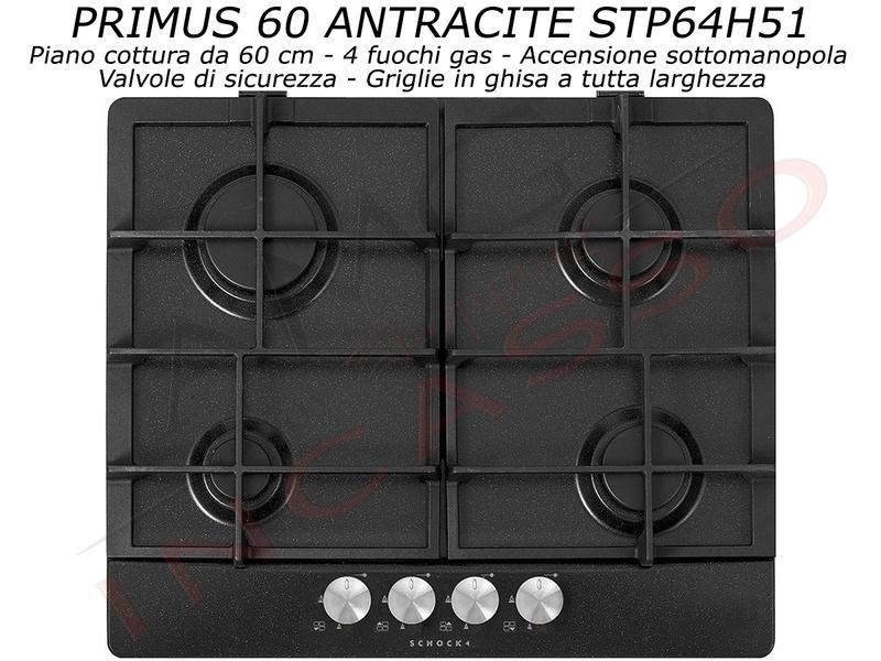 Piano Cottura Schock Primus PC60 AVG STP64H51 4 Fuochi Antracite