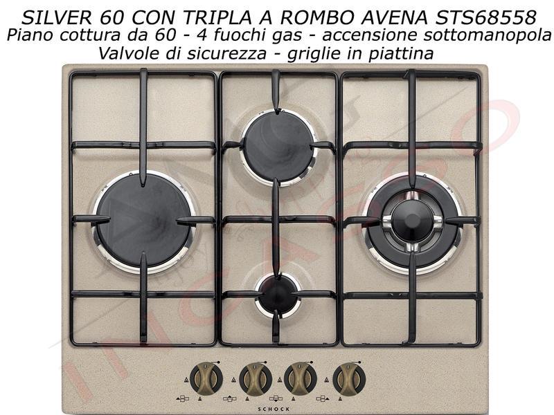 Piano Cottura Cucina Silver Rombo cm.60 4 Fuochi Avena