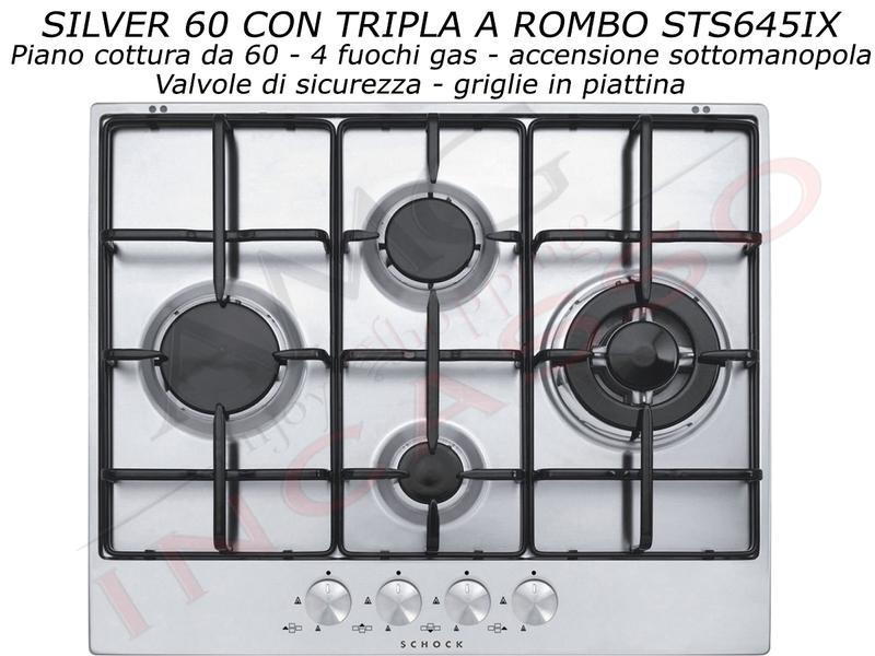 Piano Cottura Cucina Silver Rombo cm.60 4 Fuochi Acciaio Inox | AMG ...