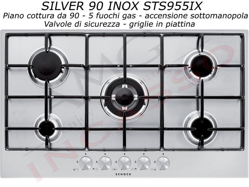 Offerta Promozionale!!! Piano Cottura Schock Cm.90 Silver STS955IX 5 ...