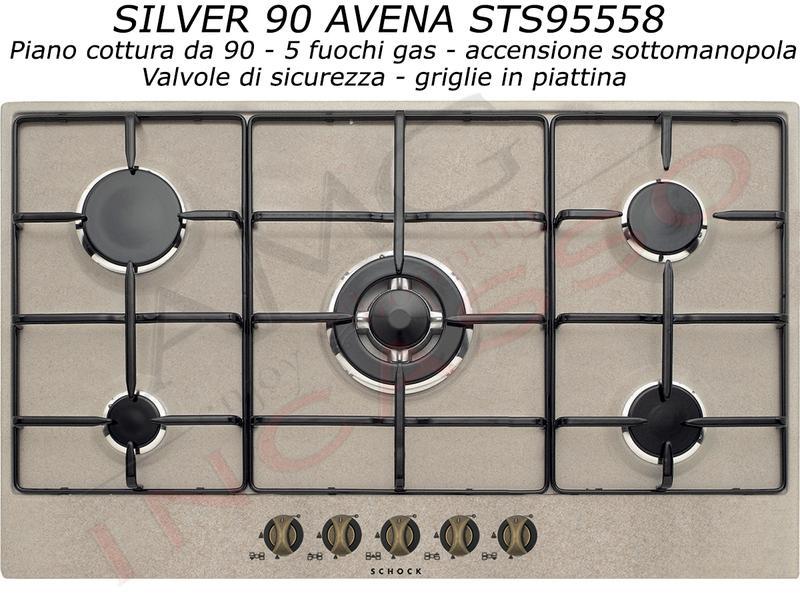 Offerta Promozionale!!! Piano Cottura Schock Cm.90 Silver STS95558 5 ...