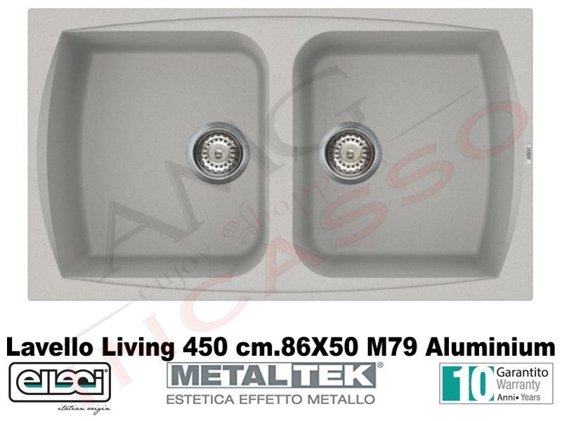 Lavello Cucina 2 Vasche Living Metaltek® cm.86X50 M79 Aluminium ...