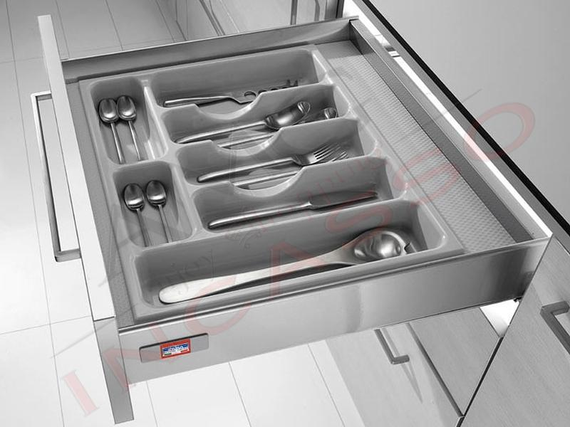 Portaposate inoxa 98 60 incasso cucina pvc grigio chiaro - Portaposate per cassetti ...