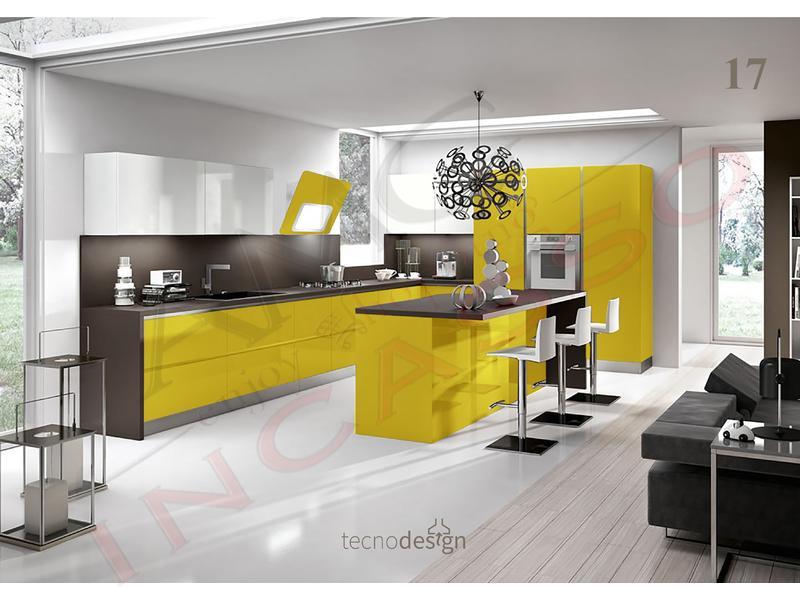 Cappa Cucina Moderna 80 TD018GS Grace Plus Inox-Vetro Giallo Senape ...