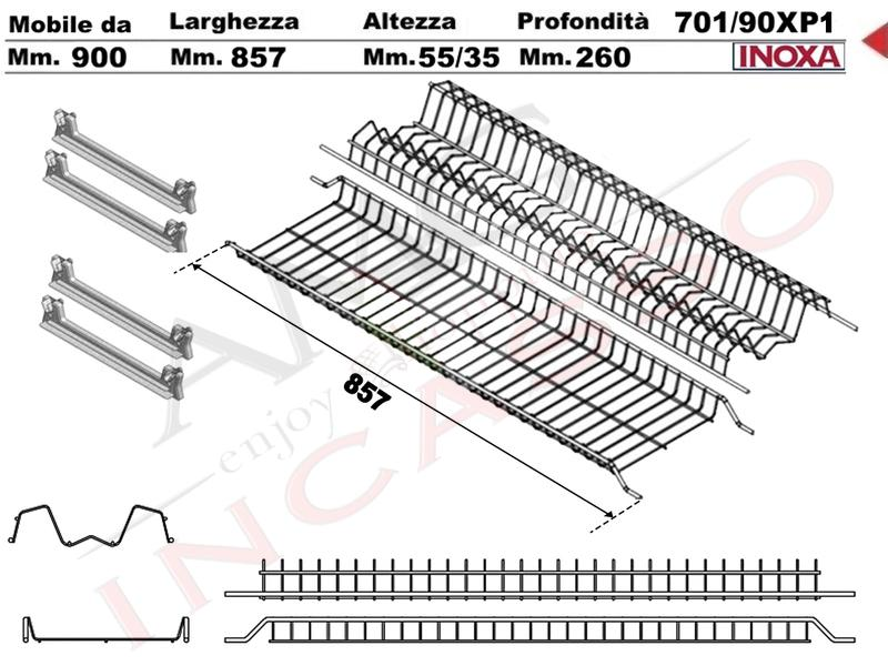Kit Inoxa Scolapiatti 701/90XP1 Cm 90 Inox 4 Art 901 Staffe