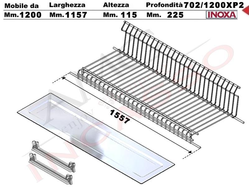120 griglia 901+601 Inox Scolapiatti Vasistas inox Kit Inoxa 702//120XP2 da Cm