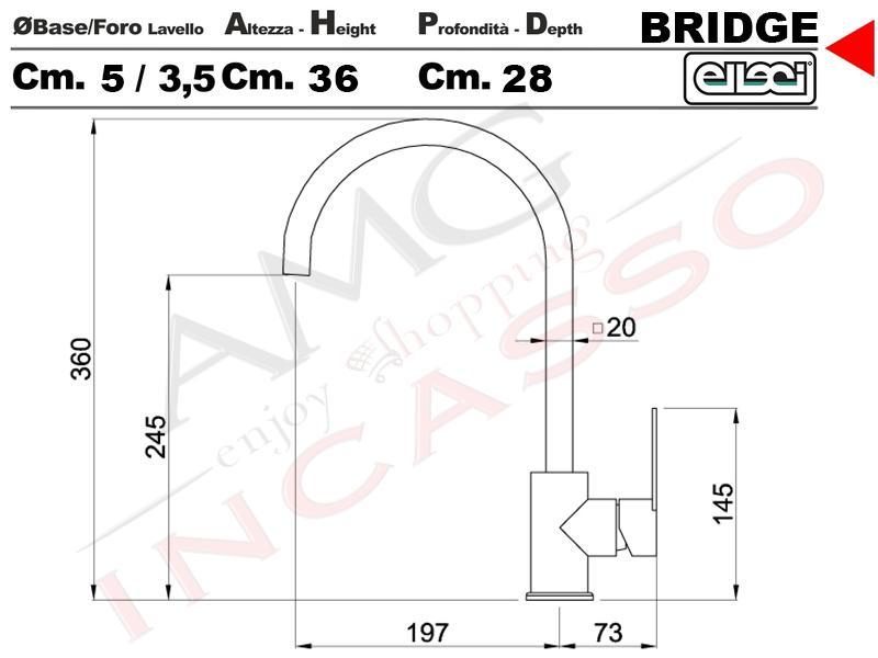miscelatore rubinetto elleci bridge mmkbri79 monocomando con canna ... - Muro Angolo Di Montaggio Lavello Singolo Foro Rubinetto