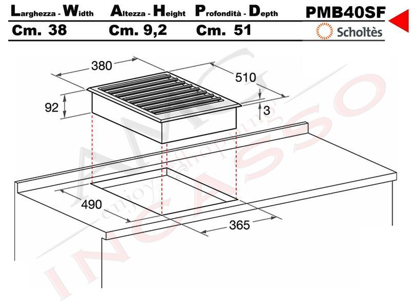 Piano Cottura Scholtes Cm.40 PMB 40 SF 76479 Barbecue vaschetta ...