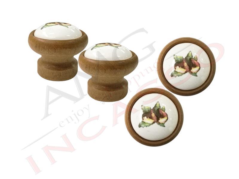 Pomolo pomello castagna p09 legno scuro rotondo inserto porcellana ceramica amg incasso - Pomelli ceramica per cucina ...