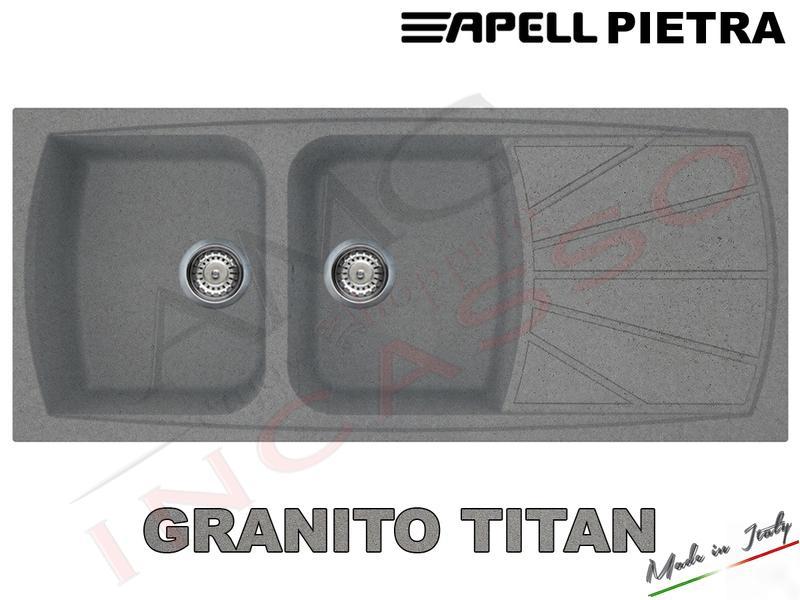 lavello cucina pietra cm116x50 2 vasche e gocciolatoio titan amg incasso elettrodomestici da incasso