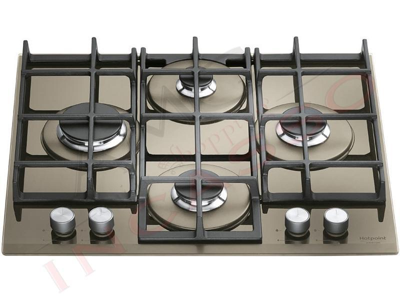 Piano cottura cucina in cristallo 4 fuochi gas desert sand griglie in ghisa amg incasso - Cucina in ghisa ...