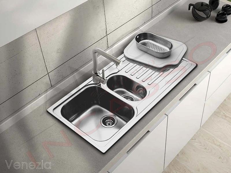 Lavello Cucina Venezia 2 Vasche cm.116X50 Acciaio Inox Spazzolato ...