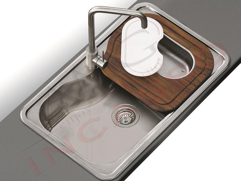 Lavello Cucina Criteria 1 Vasca / Vascone cm.80X50 Acciaio Inox