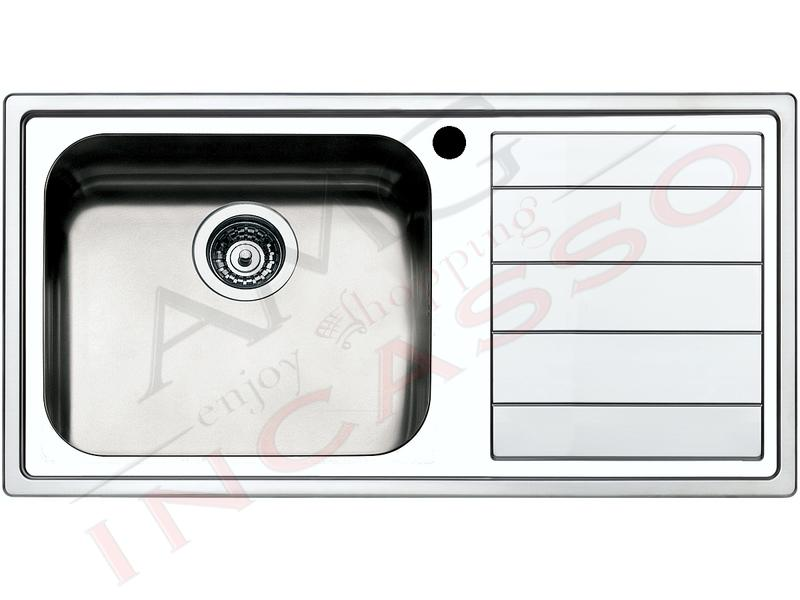 Lavello Cucina Linear 1 Vasca Maxi cm.100X50 Acciaio Inox Spazzolato ...