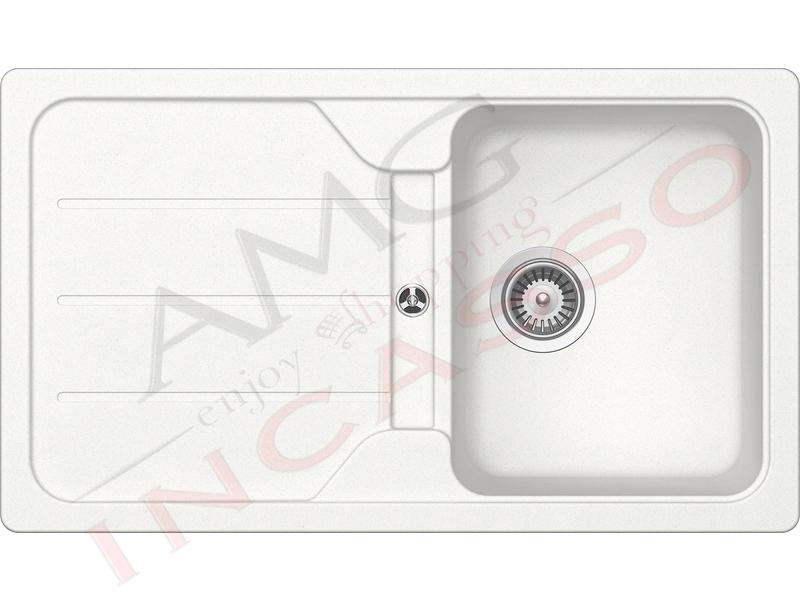 Lavello Cucina Pietra Plus cm.86X50 1 Vasca e Gocciolatoio Bianco ...