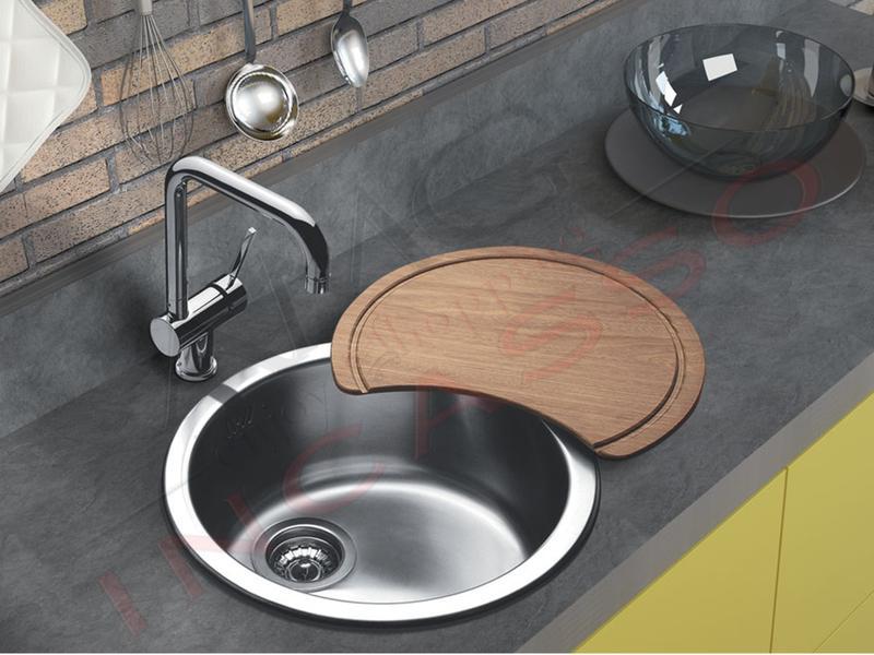Lavelli Rotondi Da Incasso.Lavello Cucina Circum 1 Vasca Pozzetto O Cm 51 Acciaio Amg