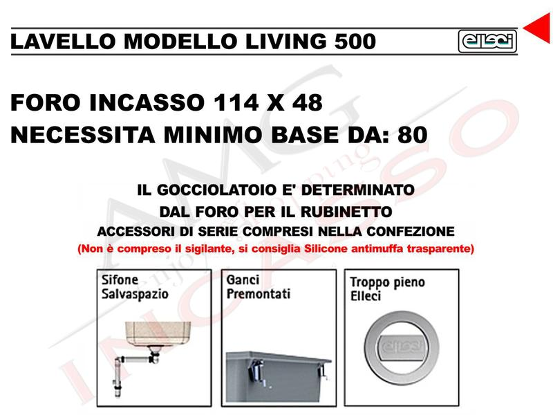 lavello cucina living 500 cm.116x50 2 vasche e gocciolatoio avena ... - Muro Angolo Di Montaggio Lavello Singolo Foro Rubinetto