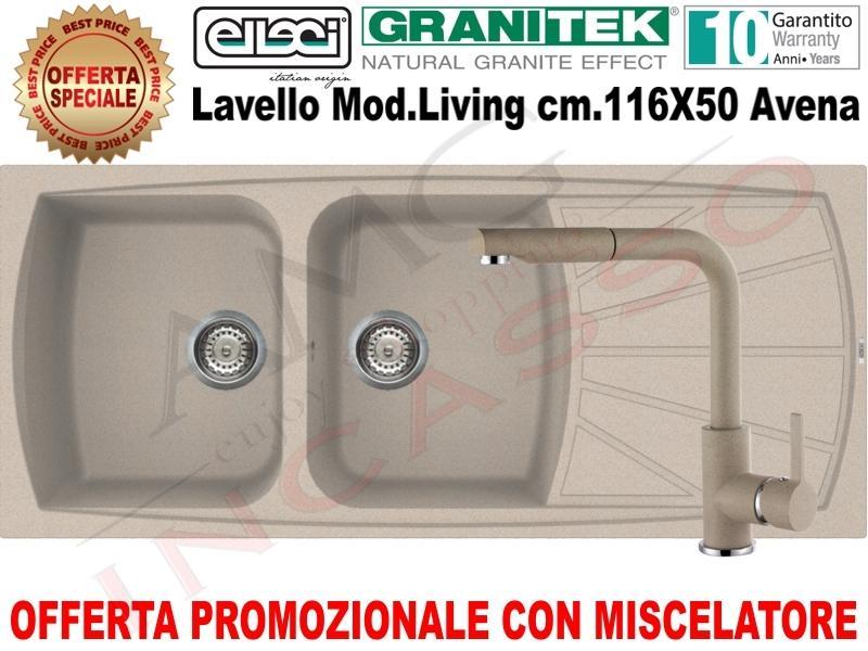 Lavello Cucina Living 500 cm.116X50 2 Vasche e Gocciolatoio Avena ...