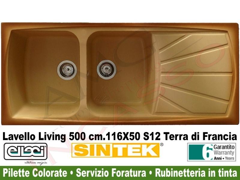Lavello Cucina 2 Vasche Living Sintek® cm.116X50 S12 Terra Di ...