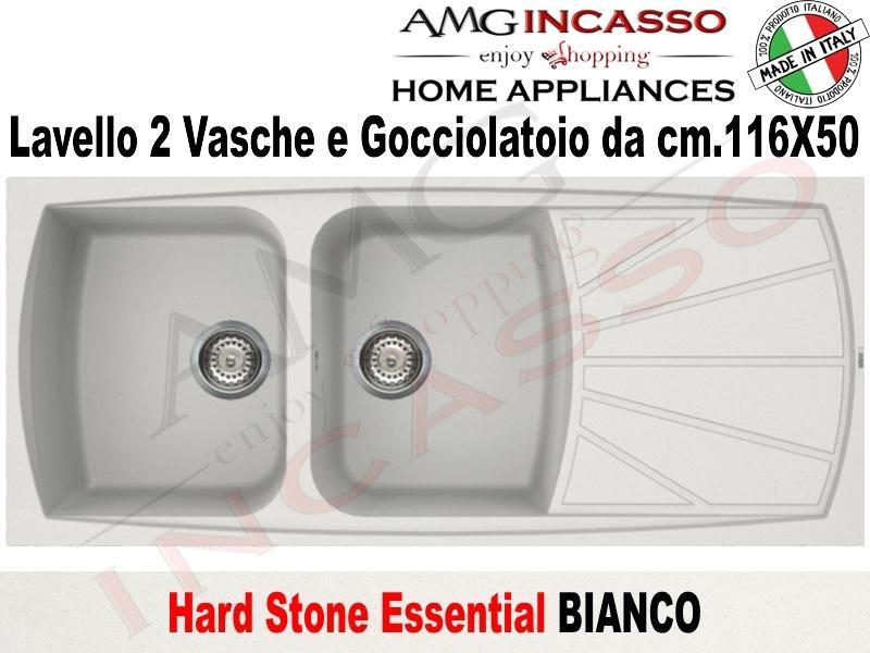 Lavello Cucina Essential 2 Vasche cm.116X50 Fragranite Bianco   AMG ...