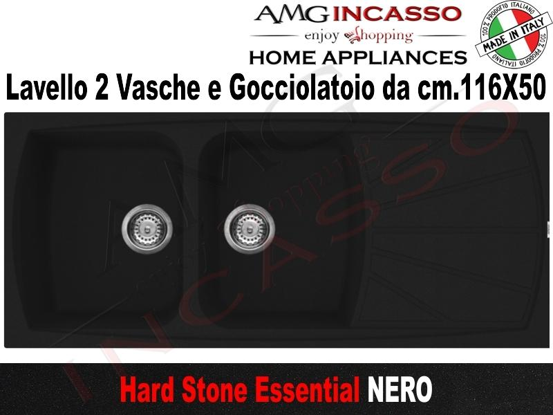 Lavello Cucina Essential 2 Vasche cm.116X50 Fragranite Nero | AMG ...