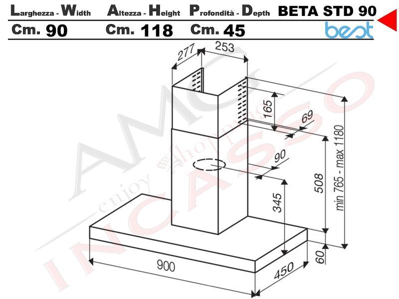 Cappa Cucina Parete BETA STD 90 07PC0014 da 395 m³ h Acciaio Inox ... cc63b95fde98