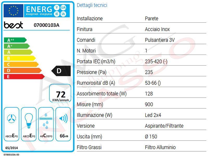 Cappa Cucina Parete WIN XS 90 07000103A da 420 m³ h Acciaio Inox ... 848498e618de